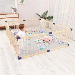 AMERROBIL Wooden Baby Playpen Safety GateWood in Brown, Size 24.2 H x 78.8 W x 60.0 D in   Wayfair PP-1520 found on Bargain Bro Philippines from Wayfair for $148.99