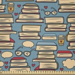 East Urban Home Ambesonne Geek Fabric By The Yard, Repeating Pattern w/ Stack Of Books Combined w/ Hearts Coffee & Nerd Glasses | Wayfair found on Bargain Bro Philippines from Wayfair for $112.99