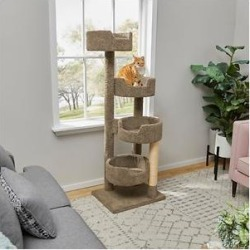 Frisco 65-in Real Carpet Wooden Cat Tree, Gray