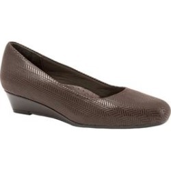Extra Wide Width Women's Lauren Leather Wedge by Trotters in Brown Suede Patent (Size 8 WW) found on Bargain Bro India from Woman Within for $104.99