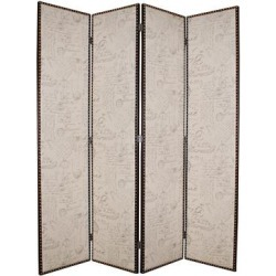 Wooden 4 Panel Foldable Screen with Script Print, Beige found on Bargain Bro Philippines from Overstock for $2783.24