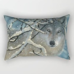 "Wolf In Snow - Broken Silence Rectangular Pillow by Collin Bogle Nature Art - Small (17"" x 12"")"