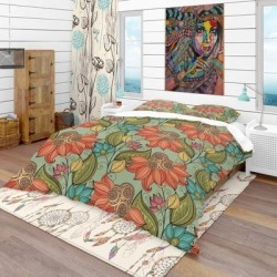 Designart 'Colorful Floral Pattern' Bohemian & Eclectic Bedding Set - Duvet Cover & Shams (Twin Cover + 1 sham (comforter not included)), Orange, found on Bargain Bro from Overstock for USD $65.66