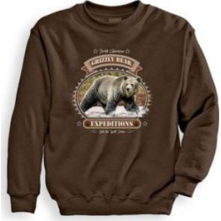 Men's Signature Graphic Sweatshirt - Grizzly Expeditions, Chocolate Brown M found on Bargain Bro India from Blair.com for $24.99