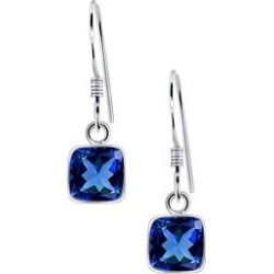 Orchid Jewelry Women's Earrings White - Blue Sapphire & Sterling Silver Square-Cut Drop Earrings found on Bargain Bro India from zulily.com for $19.99