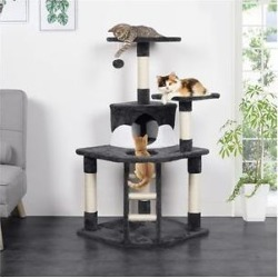 Yaheetech 47.5-in Plush Cat Tree & Condo, Dark Gray & White found on Bargain Bro Philippines from Chewy.com for $54.99