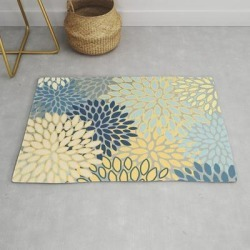 Modern, Abstract, Flower Garden, Blue, Yellow, Gray Modern Throw Rug by Megan Morris - 2' x 3' found on Bargain Bro Philippines from Society6 for $39.20