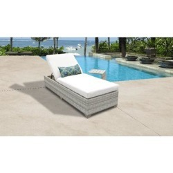 Fairmont Chaise Outdoor Wicker Patio Furniture w/ Side Table in Sail White - TK Classics Fairmont-1X-St-White