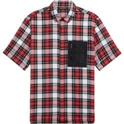 Neil Barrett Mens Tartan Short Sleeves Shirt With Nylon Pocket M White/Red/Black found on MODAPINS from Overstock for USD $168.95