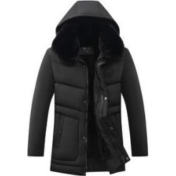 Winter Jacket Men Big Fur Collar Hooded Duck Down Jacket Thick Down Jacket Male Warm Coat (Black - XXL), Men's found on Bargain Bro from Overstock for USD $66.70