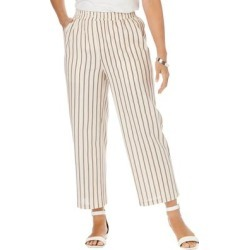 Plus Size Women's Wide Leg Linen Crop Pant by Jessica London in New Khaki Stripe (Size 12 W) found on Bargain Bro Philippines from Ellos for $21.98