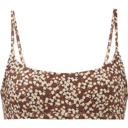 The Crop Floral-print Bikini Top - Brown - Matteau Beachwear found on MODAPINS from lyst.com for USD $135.00