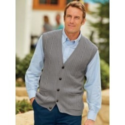 Men's John Blair Cable-Front Vest, Grey XL Regular found on Bargain Bro Philippines from Blair.com for $34.99