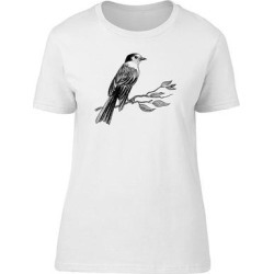 Sketch Of Bird In B&W Tee Women's -Image by Shutterstock (L), White(cotton, Graphic) found on Bargain Bro Philippines from Overstock for $13.99
