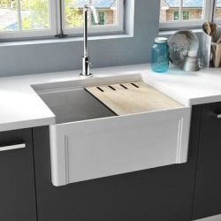 EMPIRE Devon 24 in. Fireclay Workstation Reversible Farmhouse Kitchen Sink (As Is Item) found on Bargain Bro from Overstock for USD $164.02