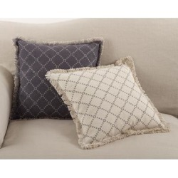Diamond Design Fringe Trim Cotton Down Filled Throw Pillow found on Bargain Bro from Overstock for USD $31.04