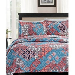 Spirit Linen Home Quilt Sets Red - Red & Blue Geometric Floral Quilt Set found on Bargain Bro Philippines from zulily.com for $29.99