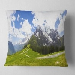 Designart 'Valley in French Alps Panorama' Landscape Printed Throw Pillow (Square - 18 in. x 18 in. - Medium), Blue, DESIGN ART(Polyester, Nature) found on Bargain Bro from Overstock for USD $28.87