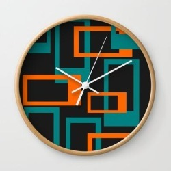 Wall Clock | Mid Century Modern Layered Rectangles - Orange And Teal by Urban Plastic - Natural - White - Society6 found on Bargain Bro from Society6 for USD $19.45