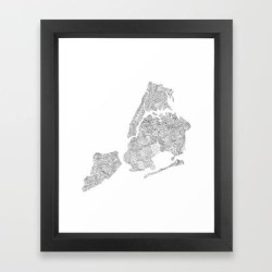 New York City Boroughs - Hand Lettered Map Framed Art Print by Type By Hand - Vector Black - X-Small-10x12