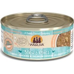 Weruva Classic Cat Stew's Clues Turkey, Chicken & Salmon in Gravy Stew Wet Canned Cat Food, 5.5-oz can, case of 8