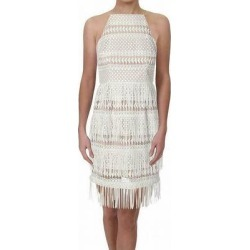 Aidan Mattox Women's Dress White Ivory Size 4 Sheath Fringe Apron Neck (4), Multicolor(polyester) found on MODAPINS from Overstock for USD $80.97