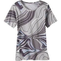 Haband Women's Bold Print Knit Top, Short Sleeves, Summer Grey, Size L found on Bargain Bro Philippines from Haband for $12.99