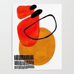 Art Poster | Mid Century Modern Abstract Vintage Pop Art Space Age Pattern Orange Yellow Black Orbit Accent by Enshape - 18