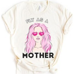 Party On! Women's Tee Shirts Cream - Cream 'Fly as a Mother' Sunglasses Boyfriend Tee - Women found on Bargain Bro India from zulily.com for $23.99