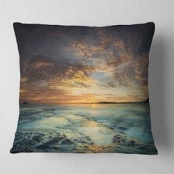 Designart 'The Tanah Lot Temple in Bali Island' Modern Beach Throw Pillow (Square - 18 in. x 18 in. - Medium), White, DESIGN ART(Polyester, Nature) found on Bargain Bro Philippines from Overstock for $33.14