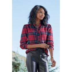 Women Triana Shirt by Soft Surroundings, in Red Plaid size 1X (18-20)