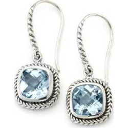 Samuel B. Women's Earrings SILVER-BLUE - Blue Topaz & Sterling Silver Cushion Shape Rope Drop Earrings found on Bargain Bro India from zulily.com for $69.99