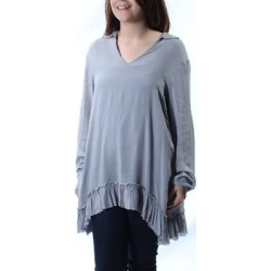 DKNY $165 Womens New 4884 Gray Ruffled W/cami Cuffed Tunic Top S Petites B+B (Gray - S), Women's(knit, Solid) found on Bargain Bro from Overstock for USD $17.46