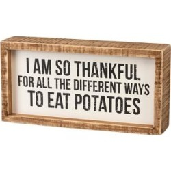 Primitives by Kathy Block Signs - White 'Eat Potatoes' Framed Block Sign
