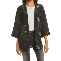 Women's Carina Salvation Print Open Front Wrap - Black - AllSaints Coats found on Bargain Bro India from lyst.com for $155.00