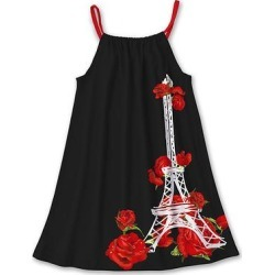 Sunshine Swing Girls' Casual Dresses - Black & Red Eiffel Tower Floral Tank Dress - Girls found on Bargain Bro Philippines from zulily.com for $11.79