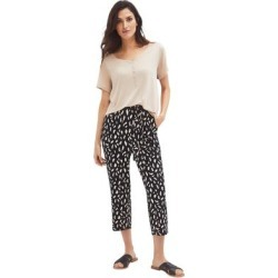 Plus Size Women's Tie-Front Capri by ellos in Black Ivory Print (Size 26/28) found on Bargain Bro Philippines from Roamans.com for $31.90