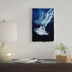 East Urban Home 'Indigo Jellyfish' Graphic Art Print on Canvas Metal in Blue/Brown, Size 40.0 H x 26.0 W x 0.75 D in   Wayfair found on Bargain Bro Philippines from Wayfair for $113.99
