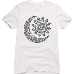 Instant Message Women's Women's Tee Shirts WHITE - White Mandala Sun & Moon Boyfriend Tee - Women found on Bargain Bro from zulily.com for USD $9.87