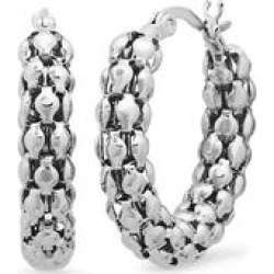 HMY Jewelry Women's Earrings metallic - Stainless Steel Popcorn Chain Hoop Earrings found on Bargain Bro India from zulily.com for $19.99