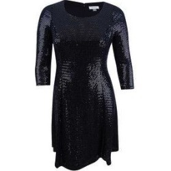 Calvin Klein Women's Sequined Fit & Flare Dress (10), Black(nylon, metallic) found on Bargain Bro from Overstock for USD $53.19