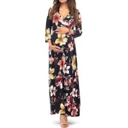 Mother Bee Maternity Women's Maxi Dresses Black-28 - Black Floral Maternity Three-Quarter Sleeve Surplice Maxi Dress found on Bargain Bro Philippines from zulily.com for $11.99