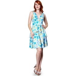 petite Evanese Women's Summer Floral Printed Sleeveless Short Tiered Dress (l - Flower), Blue(lycra) found on Bargain Bro from Overstock for USD $45.82