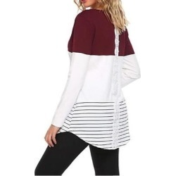 Color Block Lace Long Sleeve T Shirt Tunic Tops found on Bargain Bro India from Overstock for $28.54