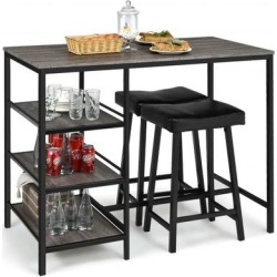 Costway 3 Pcs Counter Height Dining Bar Table Set with 2 Stools and 3 Storage Shelves-Black found on Bargain Bro from Costway for USD $144.36