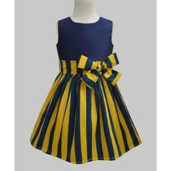 A.T.U.N. Girls' Casual Dresses Mustard - Mustard & Navy Stripe Double-Bow A-Line Dress - Toddler & Girls found on Bargain Bro India from zulily.com for $11.99