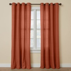 Wide Width Poly Cotton Canvas Grommet Panel by BrylaneHome in Terracotta (Size 48