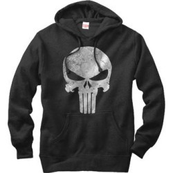 Fifth Sun Men's Sweatshirts and Hoodies BLACK - Punisher Black Distressed Skull Hoodie - Men found on Bargain Bro from zulily.com for USD $26.59
