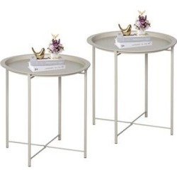 VECELO Round Table/ End Table Bge (Set of 1/Set of 2) (set of 2), Beige