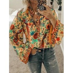 White Long Sleeve Floral Cotton-Blend Floral-Print Shirts (Orange - L), Women's found on Bargain Bro Philippines from Overstock for $31.81